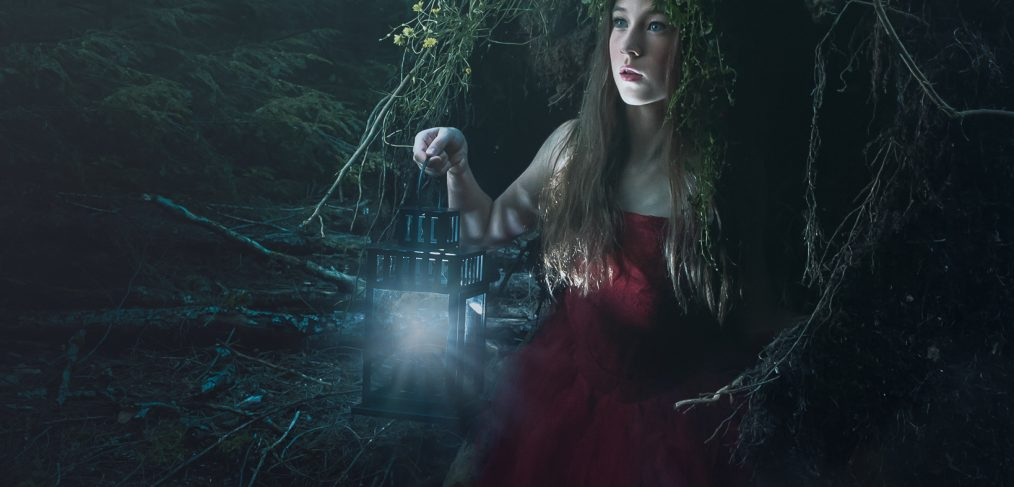 Alana Lee Photography: fantasy photography with girl wearing deer headpiece in forest using stella pro continuous LED lights