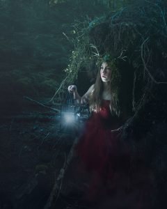 fantasy photography with girl wearing deer headpiece in forest using stella pro continuous LED lights