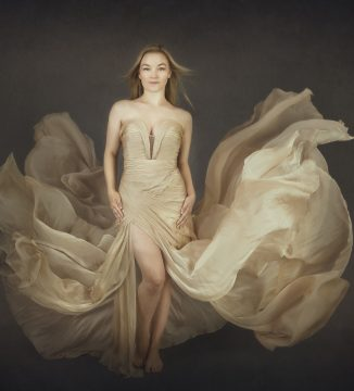 Alana Lee Photography: portrait of teenager wearing a floating dress that looks like a flower