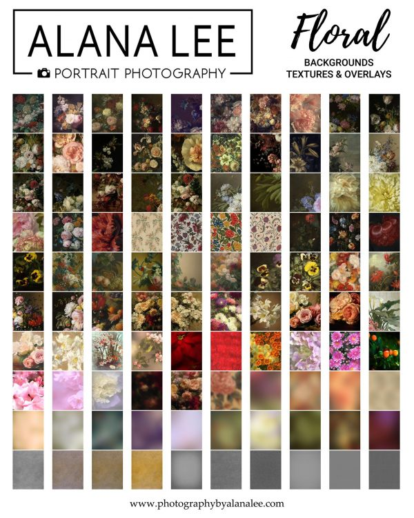 A collection of botanical inspired floral digital backgrounds, textures and overlays