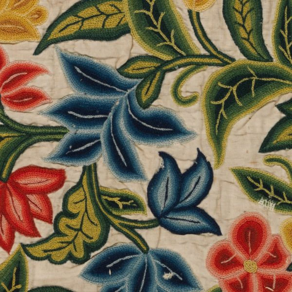 detail of vintage fabric embroidery available as digital flower background