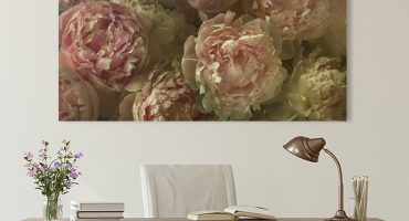 floral peony wall art decorating a modern farmhouse office with crystal chandelier