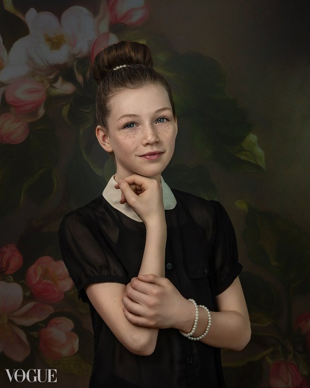 alana lee portrait of a girl on a digital flower background published in vogue magazine