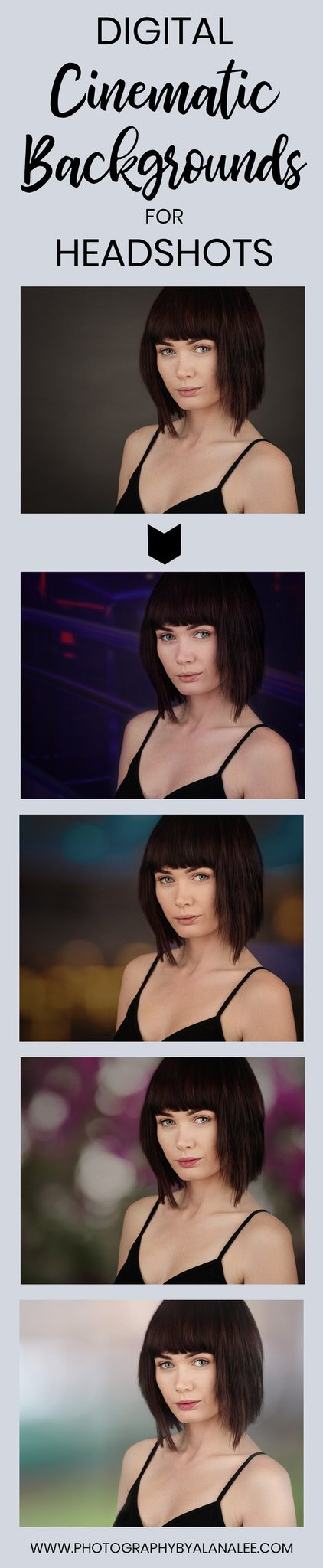 before and after images showing how to use digital backgrounds for cinematic headshots