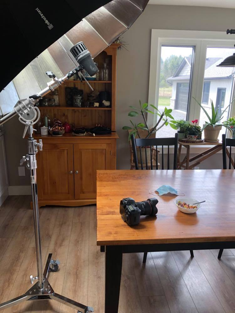 Behind the scenes location setup using a Stella Pro 5000 continuous LED photography light to create an image