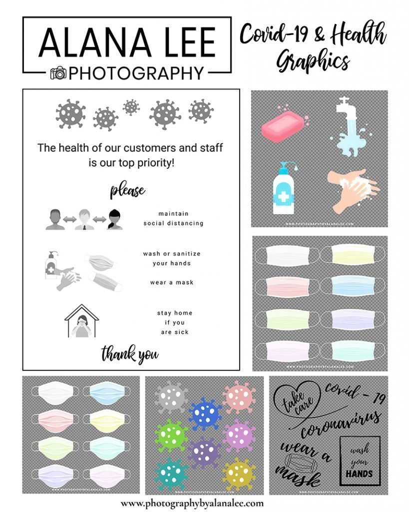 a set of covid-19 and health care graphics with transparent backgrounds FREE